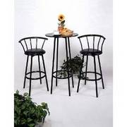 Bistro Tall silver and pine table with 2 stools